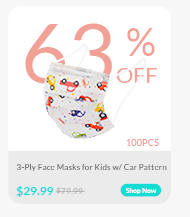3-Ply Face Masks for Kids w/ Car Pattern