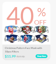 Christmas Pattern Face Mask with 10pcs Filters
