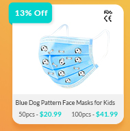 50/100 pcs Disposable Face Masks for Kids (3-7) with Printed Pattern - Blue